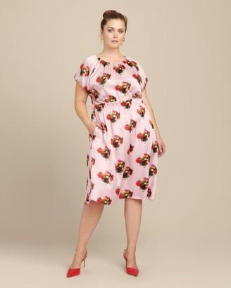 Adam Lippes Printed Hammered Silk Ruffle Waist Dress
