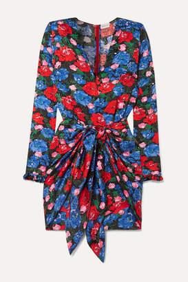 Magda Butrym Lesina Knotted Floral-print Silk-jacquard Mini Dress - Blue