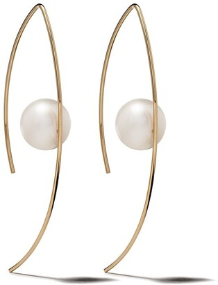 Mizuki 14kt yellow gold Sea of Beauty floating white pearl open marquis earrings