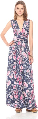 Ella Moon Women's Tess Sleeveless Vneck Cross Waist Maxi Dress
