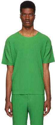 Issey Miyake Homme Plisse Green Pleated T-Shirt