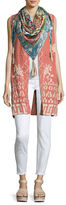 Johnny Was Letty Linen Embroidered Long Vest