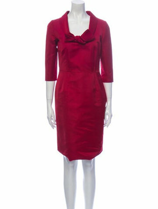 Valentino Cowl Neck Knee-Length Dress Pink