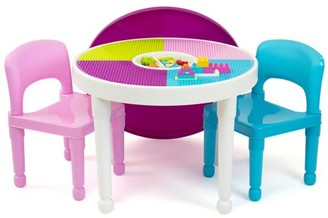 Humble Crew Kids 2-in-1 Plastic LEGO-Compatible Activity Table and 2 Chairs Set