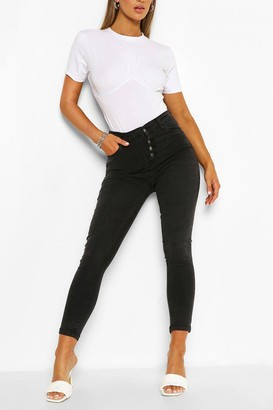 boohoo High Rise Exposed Button Stretch Skinny Jean