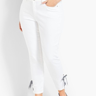 Talbots Gingham Lace-Up Denim Slim Ankle - White