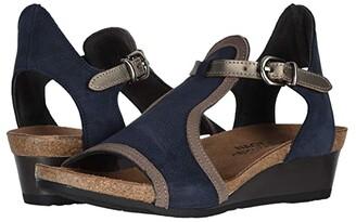 Naot Footwear Fiona (Black Velvet Nubuck/Khaki Beige Leather/Silver Mirror Leather) Women's Sandals