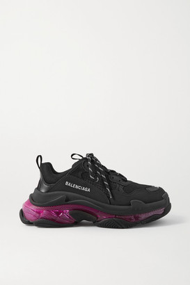 Balenciaga Triple S Clear Sole Logo-embroidered Leather, Nubuck And Mesh Sneakers - Black
