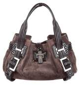 Roger Vivier Patent Leather-Trimmed Suede Tote