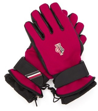 MONCLER GRENOBLE Logo Patch Twill And Leather Technical Ski Gloves - Red