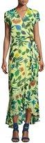 Taylor Floral-Print Chiffon Faux-Wrap Dress, Yellow Pattern