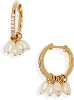 Nadri Genuine Pearl Huggie Hoop Earrings