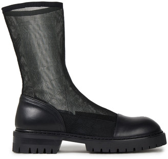 Ann Demeulemeester Leather And Stretch-mesh Ankle Boots