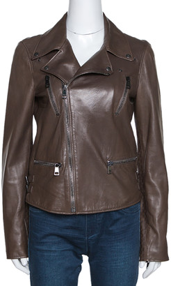Gucci Brown Leather Monogram Detail Zip Front Jacket M