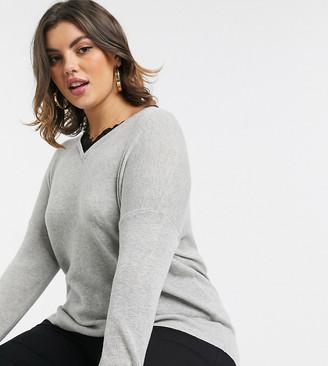 Vero Moda Curve v neck sweater with lace trim in gray