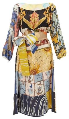 Rianna + Nina - Abstract-print Vintage-silk Midi Dress - Womens - Multi
