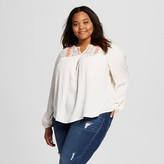 Mossimo Women's Plus Size Embellished Peasant Top Juniors')