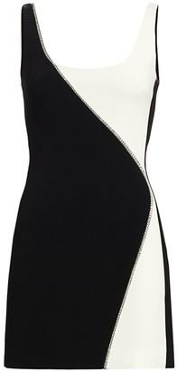 David Koma Contrast Crystal Embellished Mini Dress