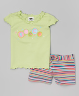 Mulberribush Limeade 'Peace' Tee & Stripe Shorts - Infant Toddler & Girls