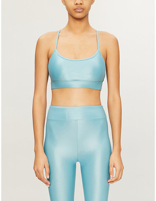 Koral Slate metallic stretch-jersey sports bra