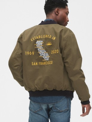 Gap 1969 Premium 50th Embroidered Reversible Bomber Jacket