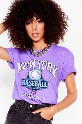 Nasty Gal Womens On the Baseball Graphic Tee - Purple - S