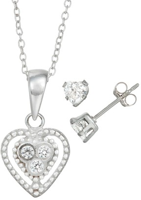 Charming Girl Kids' Sterling Silver Crystal Heart Pendant & Stud Earring Set