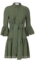 Derek Lam 10 Crosby Grommet-Hem Flounced Shirtdress