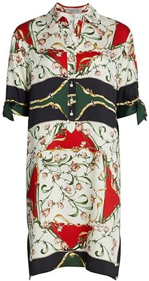 Teri Jon by Rickie Freeman Scarf Print Short-Sleeve Shirtdress