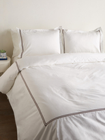 Melange Home Two-Stripe Embroidered Duvet Set