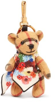 Burberry Thomas Bear Scarf Cashmere Key Ring - Brown Multi