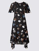 Classic Printed Hanky Hem Tunic Midi Dress