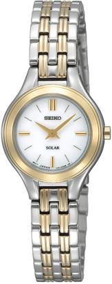 Seiko Women Solar Two-Tone Stainless Steel Bracelet Watch 22mm SUP210