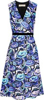 Emilio Pucci Velvet-trimmed Printed Wool And Silk-blend Twill Dress