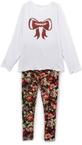 Beary Basics White & Red Football-Bow Tee & Rose Leggings - Toddler & Girls