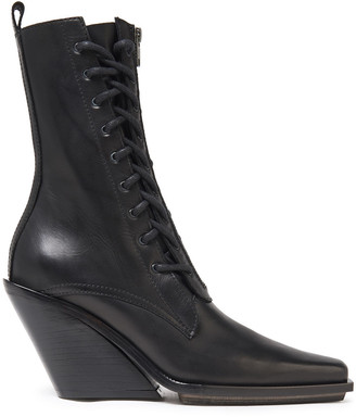 Ann Demeulemeester Lace-up Leather Wedge Boots