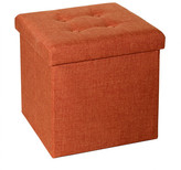 Seville Classics Tufted Foldable Storage Cube Ottoman Upholstery