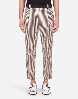 Dolce & Gabbana Stretch Cotton Pants With Leopard Print