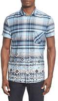 BOSS ORANGE Men's 'Ezippoe' Extra Trim Fit Short Sleeve Check Woven Shirt