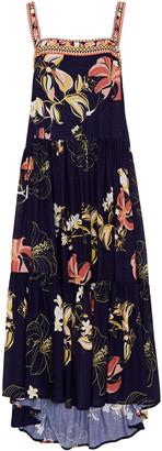 Jets Asymmetric Floral-print Jacquard Midi Dress