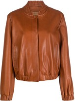 Drome ruched-collar bomber jacket