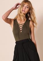 Missy Empire Cassidy Khaki Lace Up Sleeveless Bodysuit