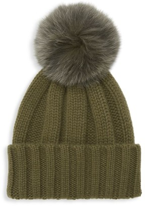 Raffaello Bettini Fox Fur Pom Pom Cashmere Beanie