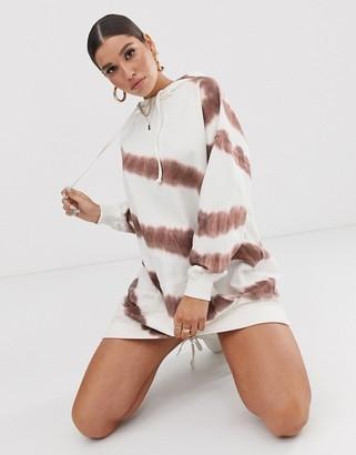 Public Desire X Lissy Roddy oversized hoody dress in tie dye-Brown