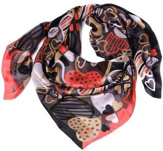 Paisley & Heart Silk Chiffon Large Square Scarf - Romantic Black