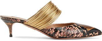 Aquazzura Rendez Vous 45 Metallic Faux Leather And Elaphe Mules
