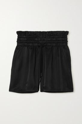 RtA Tara Striped Silk-satin Shorts - Black