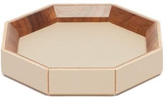 Rabitti 1969 - Coste Valet Medium Leather And Walnut-wood Tray - Beige