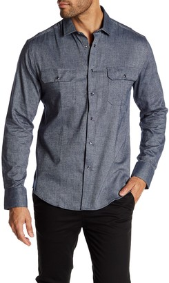 Vince Camuto Double Chest Pocket Snap Slim Fit Sport Shirt