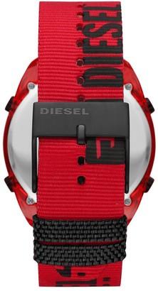 Diesel Crusher Digital Dial Red Case Black Branded Fabric Strap Mens Watch